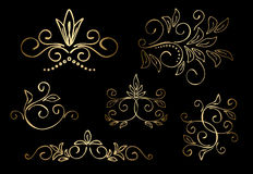 Gold floral vector design elements - set Stock Photos