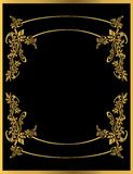 Gold floral frame 2. Gold floral frame on a black background Stock Image