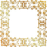 Gold floral frame. Gold vintage floral frame with thin lines Royalty Free Stock Photography