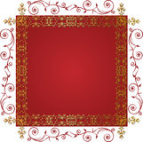 Gold floral frame. On a red background Royalty Free Stock Photography