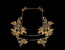 Gold floral frame 3. Gold floral frame on a black background Royalty Free Stock Image