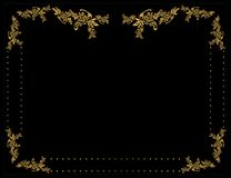 Gold floral frame 4. Gold floral frame on a black background Royalty Free Stock Images