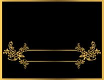 Gold floral frame 5. Gold floral frame on a black background Royalty Free Stock Photography