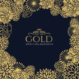 Gold floral frame on dark blue background vector art design Royalty Free Stock Image
