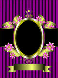 Gold floral frame on a  purple  background Stock Images