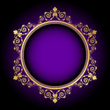 Gold floral frame on purple background Stock Photo