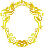 Gold floral frame wedding. Romantic wedding gold oval floral frame. two birds pheonix Stock Images