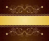 Gold floral greeting cards and invitation Royalty Free Stock Images
