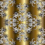 Gold floral hand drawn seamless pattern. stock illustration