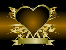 Gold Floral Hearts Background Stock Photo