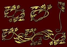Gold Floral Ornaments stock illustration