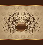Gold floral packing, design element Stock Photo