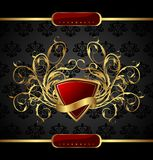 Gold floral packing with heraldic element Stock Images