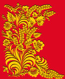 Gold floral pattern on red Royalty Free Stock Photography