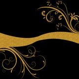 Gold floral swirls on black background Royalty Free Stock Images