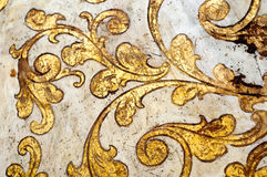 Gold flourish design. White background. Stock Photography