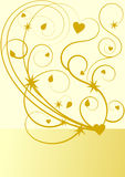 Gold flourish pattern with stars and hearts Royalty Free Stock Photo