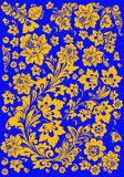 Gold flower background on blue Royalty Free Stock Image