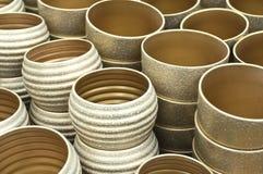Gold flower ceramic pots Royalty Free Stock Image