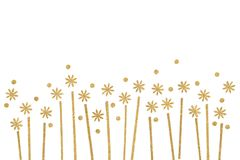 Gold flower field paper cut on white background. Isolated Stock Images