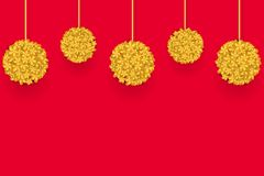 Gold Flower lanterns on the red background. Design for Chinese New Year. Vector illustration EPS10 royalty free illustration