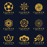 Gold Flower logo vector set art design Stock Photo