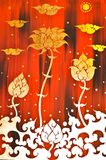 Gold flower painting in red background Royalty Free Stock Photography