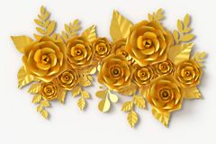 Gold Flower paper style, colorful rose, paper craft floral, 3d rendering, with clipping path. royalty free illustration