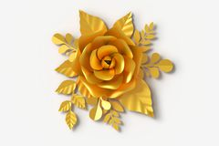 Gold Flower paper style, colorful rose, paper craft floral, 3d rendering, with clipping path. vector illustration