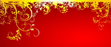 Gold flower in red background Royalty Free Stock Image