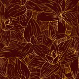 Gold flower on red pattern vector illustration