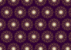 Gold Flower and Swirl Pattern on Dark Purple Background Royalty Free Stock Image