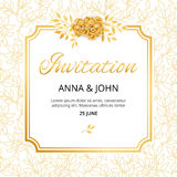 Gold Flower wedding invitation Royalty Free Stock Images