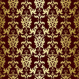 Gold flowers. Seamless pattern from gold flowers and leaves(can be repeated and scaled in any size stock illustration