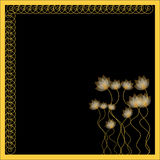 Gold flowers on a black background. With Copy Space Royalty Free Stock Image