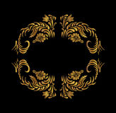 Gold flowers on black background. Royalty Free Stock Photos