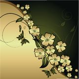 Gold flowers and butterflies. The stylised flowers and leaves with flying butterflies on a gold and green background Royalty Free Stock Images