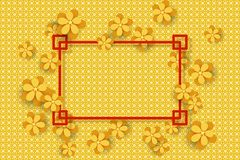Gold Flowers on the golden backgroune and frame for text. Design for Chinese New Year stock illustration