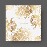 Gold flowers and leaves of peonies. Ornate decor for invitations, wedding greeting cards, certificate, labels. Royalty Free Stock Photography