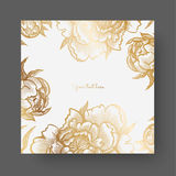 Gold flowers and leaves of peonies. Ornate decor for invitations, wedding greeting cards, certificate, labels. Royalty Free Stock Photos