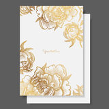 Gold flowers and leaves of peonies. Ornate decor for invitations, wedding greeting cards, certificate, labels. Stock Photo