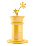 Gold flowers on pedestal Stock Image