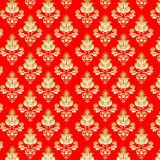 Gold flowers on  red background Royalty Free Stock Photography