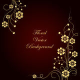 Gold flowers with shadow on dark background. Gold flowers with shadow on dark red background. Vector illustration Stock Photo