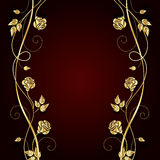 Gold flowers with shadow on dark background. Gold flowers with shadow on dark red background. Vector illustration Royalty Free Stock Image