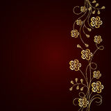 Gold flowers with shadow on dark background. Gold flowers with shadow on dark red background. Vector illustration Stock Photography