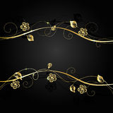 Gold flowers with shadow on dark background. Royalty Free Stock Photo
