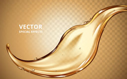 Gold fluid flow element. Can be used as special effect, 3d illustration Royalty Free Stock Images