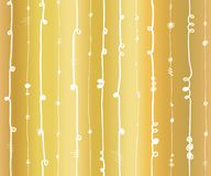 Gold foil abstract vertical lines seamless vector pattern. White wavy vertical stripes with twirl elements on golden background. stock illustration