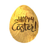 Gold Foil Calligraphy Happy Easter Greeting Card. Modern Brush Lettering. Gold Stroke Egg and Black Letters. Joyful wishes, holida Royalty Free Stock Image